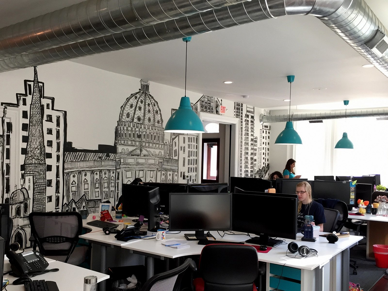 An exclusive tour of webpagefx s cool office officelovin 39 for Office design companies