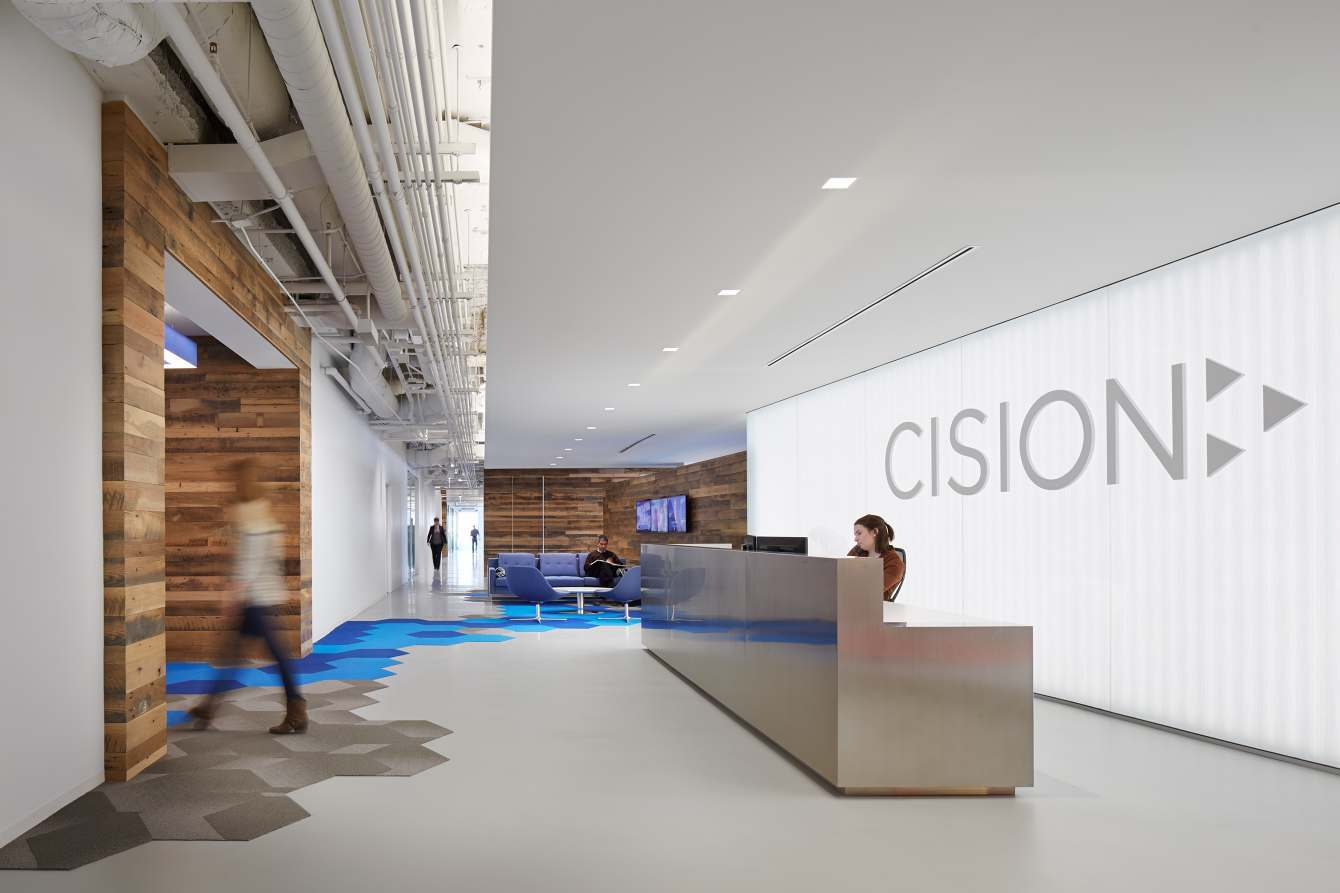 A look inside cision s stylish chicago headquarters for Bureau reception