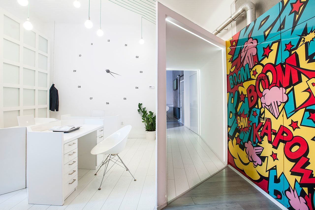 Inside dekoratio s colorful budapest office officelovin 39 for Graphic design interior design