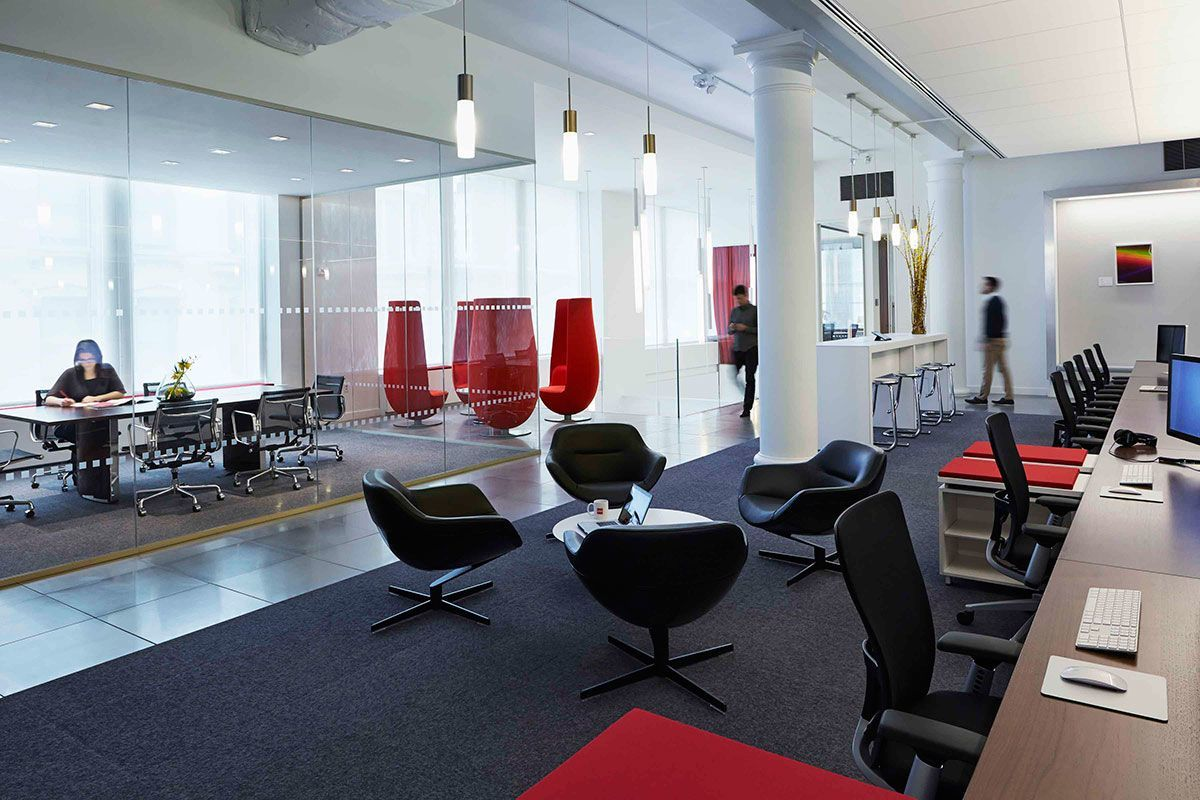 Inside infor s ultra modern headquarters in new york city for Office interior design nyc