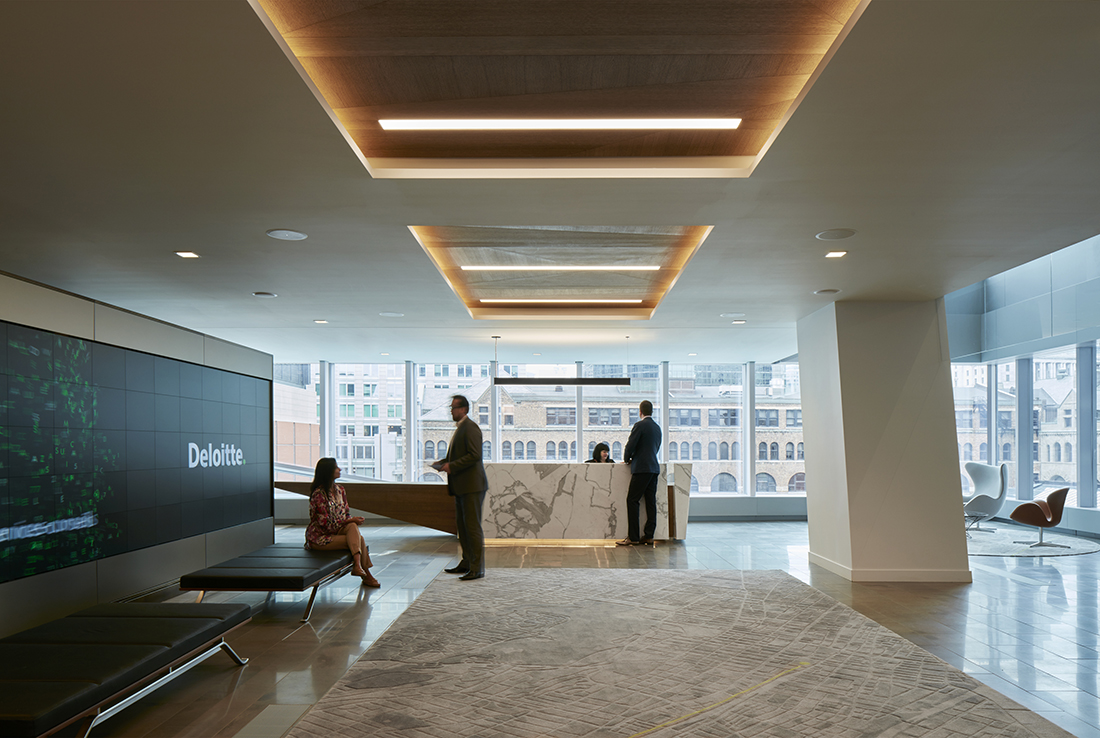 inside deloitte s new elegant montreal office officelovin. Black Bedroom Furniture Sets. Home Design Ideas