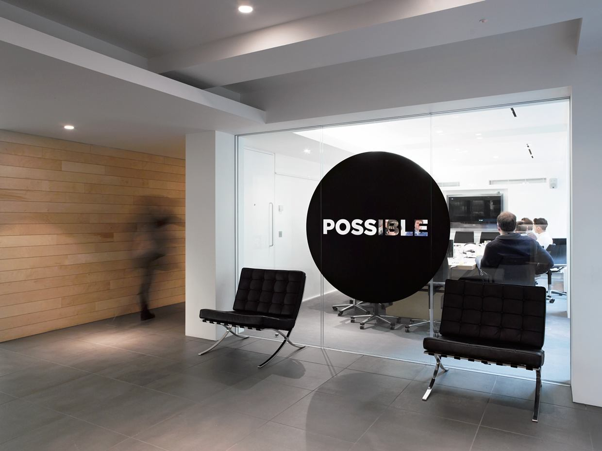 Inside possible s modern london office officelovin 39 for Interior design marketing agency