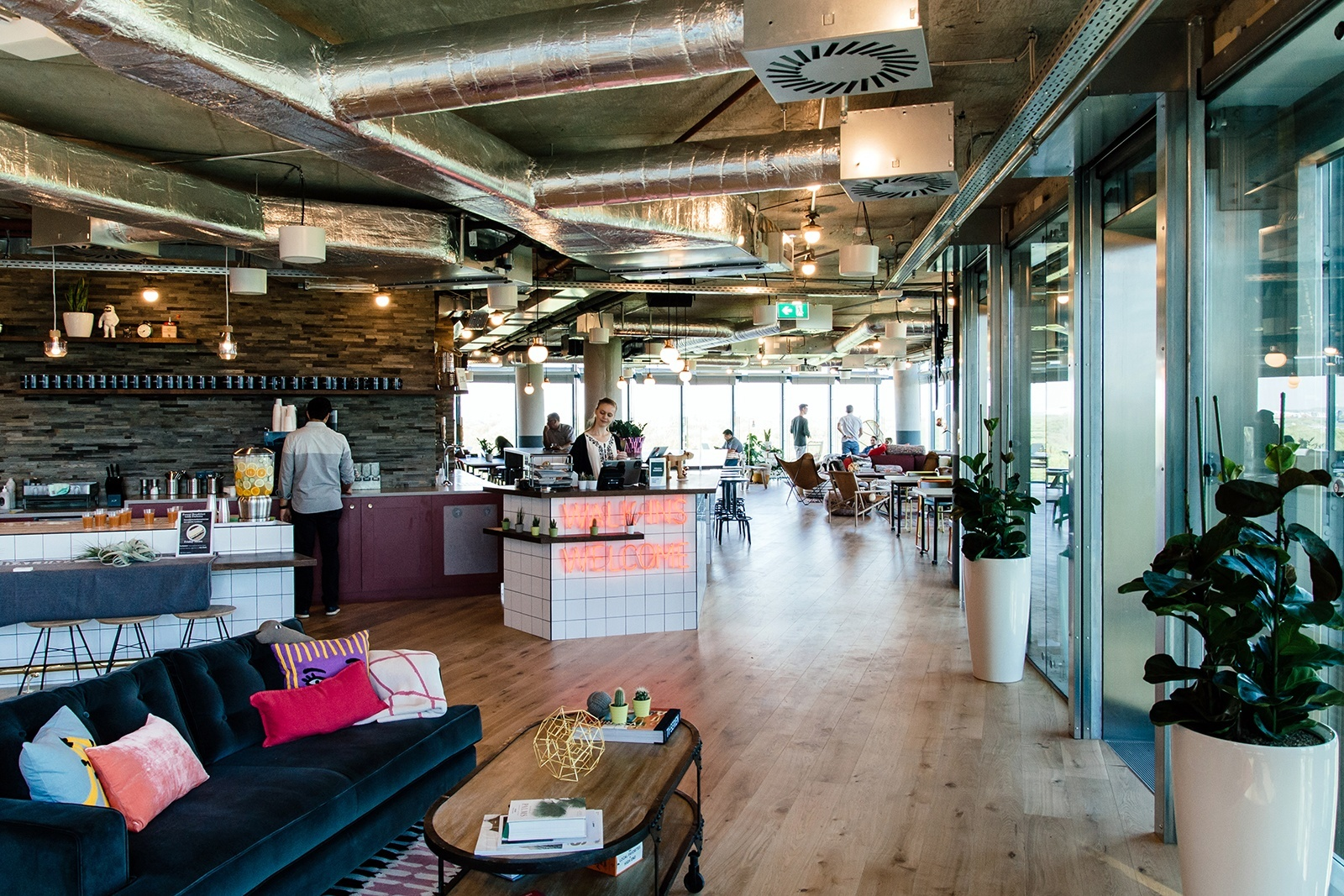 a tour of wework s new coworking space in berlin. Black Bedroom Furniture Sets. Home Design Ideas