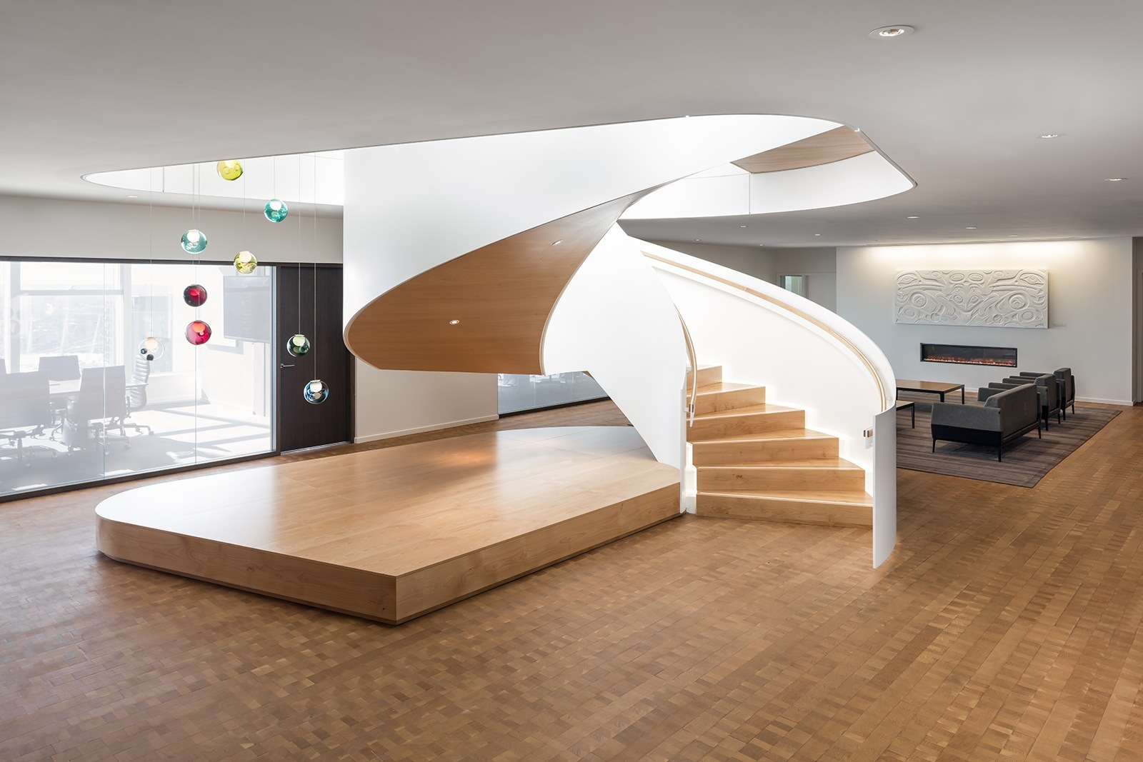 A tour of telus stunning vancouver headquarters for Office stairs design