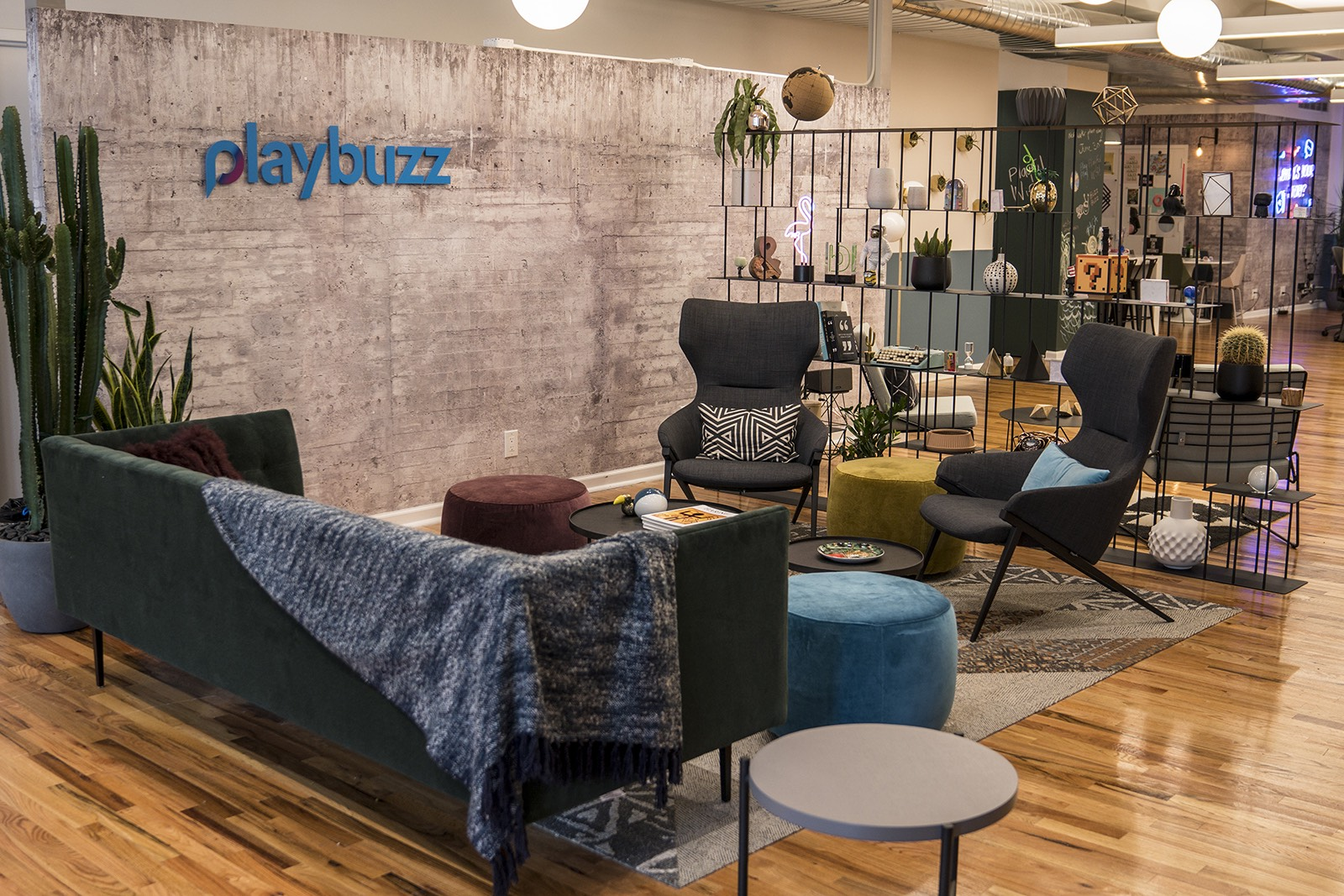 A peek inside playbuzzs new nyc office officelovin lobby neon signs waiting area sciox Image collections