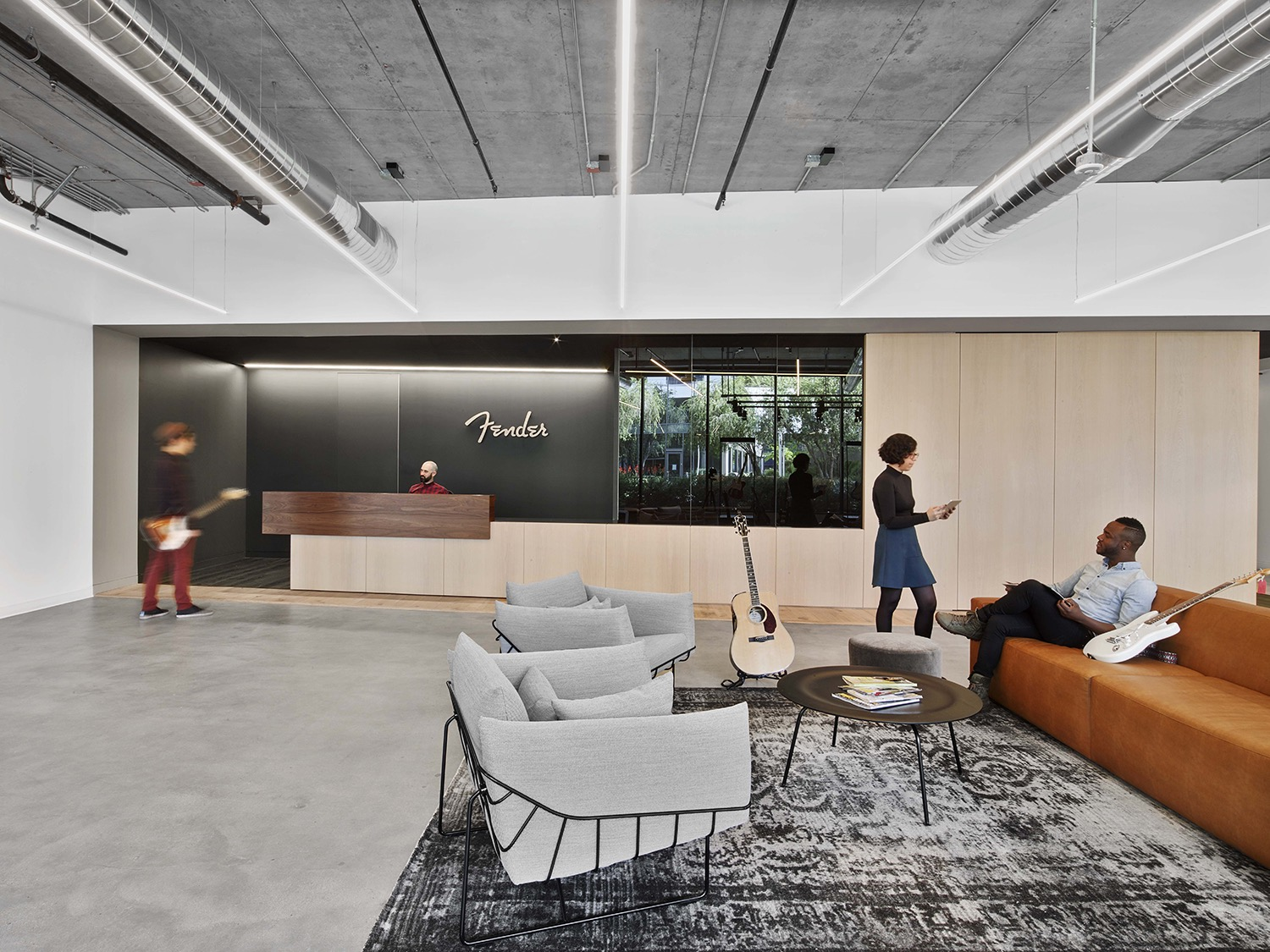 A tour of fender s sleek new los angeles office officelovin 39 for Los angeles interior